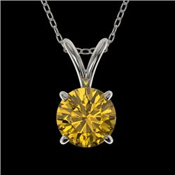 0.79 CTW Certified Intense Yellow SI Diamond Solitaire Necklace 10K White Gold - REF-100X5T - 36748