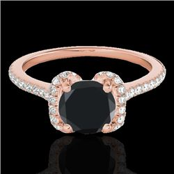 1.33 CTW Certified VS Black Diamond Solitaire Halo Ring 10K Rose Gold - REF-57F6N - 33293