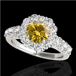 2.9 CTW Certified Si/I Fancy Intense Yellow Diamond Solitaire Halo Ring 10K White Gold - REF-358Y5K