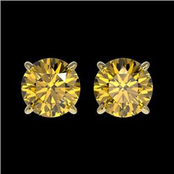 1.50 CTW Certified Intense Yellow SI Diamond Solitaire Stud Earrings 10K Yellow Gold - REF-192H2A -