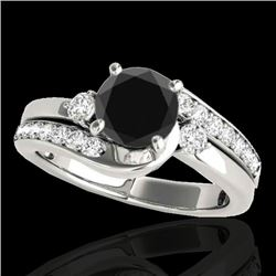 1.5 CTW Certified VS Black Diamond Bypass Solitaire Ring 10K White Gold - REF-74Y4K - 35094