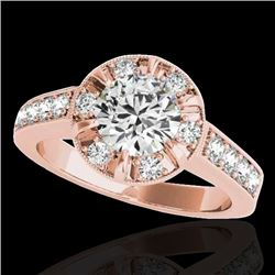 2 CTW H-SI/I Certified Diamond Solitaire Halo Ring 10K Rose Gold - REF-236T4M - 34487