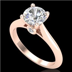 1.36 CTW VS/SI Diamond Solitaire Art Deco Ring 18K Rose Gold - REF-405T2M - 37290