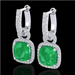 6 CTW Emerald & Micro Pave VS/SI Diamond Earrings 18K White Gold - REF-125M5H - 22961