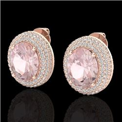 9 CTW Morganite & Micro Pave VS/SI Diamond Earrings 14K Rose Gold - REF-273X5T - 20228
