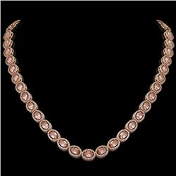 31.96 CTW Morganite & Diamond Halo Necklace 10K Rose Gold - REF-604K2W - 40413