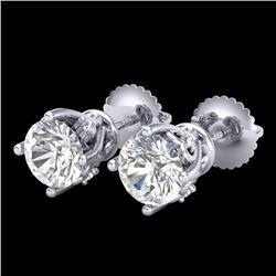 1.26 CTW VS/SI Diamond Solitaire Art Deco Stud Earrings 18K White Gold - REF-209Y3K - 37019