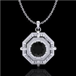 0.75 CTW Fancy Black Diamond Solitaire Art Deco Stud Necklace 18K White Gold - REF-80H2A - 37457