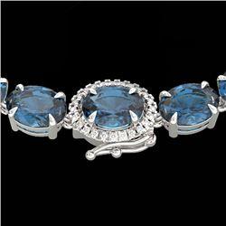 90 CTW London Blue Topaz & VS/SI Diamond Tennis Micro Halo Necklace 14K White Gold - REF-281A8X - 23