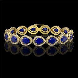 30.06 CTW Sapphire & Diamond Halo Bracelet 10K Yellow Gold - REF-344N2Y - 41242