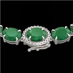 54.25 CTW Emerald & VS/SI Diamond Tennis Micro Pave Halo Necklace 14K White Gold - REF-345T5M - 4026
