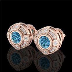 1.5 CTW Fancy Intense Blue Diamond Art Deco Stud Earrings 18K Rose Gold - REF-178M2H - 37699
