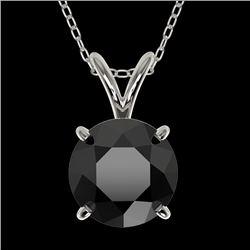 1.50 CTW Fancy Black VS Diamond Solitaire Necklace 10K White Gold - REF-34N3Y - 33223