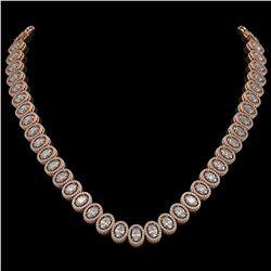 34.72 CTW Oval Diamond Designer Necklace 18K Rose Gold - REF-6267X8T - 42759