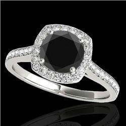 1.4 CTW Certified VS Black Diamond Solitaire Halo Ring 10K White Gold - REF-61F3N - 34187