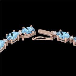 24 CTW Aquamarine & VS/SI Diamond Eternity Tennis Necklace 10K Rose Gold - REF-243A5X - 21583