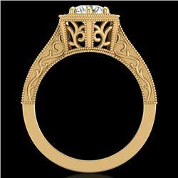 0.77 CTW VS/SI Diamond Art Deco Ring 18K Yellow Gold - REF-218Y2K - 36898