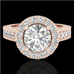 2.25 CTW Vintage VS/SI Diamond Engagement Halo Ring 14K Rose Gold - REF-541H8A - 21116