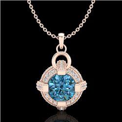 1.57 CTW Fancy Intense Blue Diamond Micro Pave Stud Necklace 18K Rose Gold - REF-147K3W - 37636