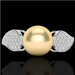 0.27 CTW Micro Pave VS/SI Diamond & Golden Pearl Designer Ring 18K White Gold - REF-45M3H - 22639