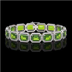 33.37 CTW Peridot & Diamond Halo Bracelet 10K White Gold - REF-405A5X - 41549
