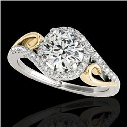 1.25 CTW H-SI/I Certified Diamond Solitaire Halo Ring 10K White & Yellow Gold - REF-155K5W - 34170