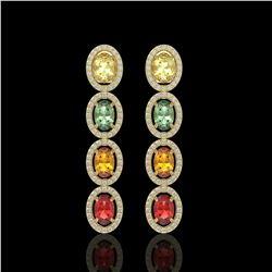6.09 CTW Multi Color Sapphire & Diamond Halo Earrings 10K Yellow Gold - REF-135X3T - 40552