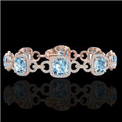 30 CTW Topaz & Micro VS/SI Diamond Bracelet 14K Rose Gold - REF-368Y9K - 23033