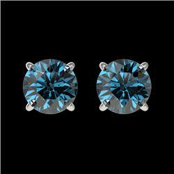 1 CTW Certified Intense Blue SI Diamond Solitaire Stud Earrings 10K White Gold - REF-87K2W - 33055