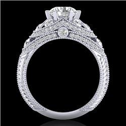 2 CTW VS/SI Diamond Solitaire Art Deco Ring 18K White Gold - REF-480X2T - 37112