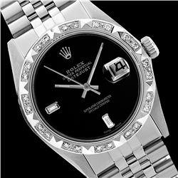 Rolex Men's Stainless Steel, QuickSet, Diam Dial with Pyrimid Diam Bezel  - REF-521W5H