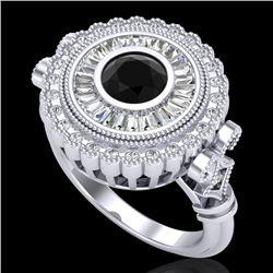 2.03 CTW Fancy Black Diamond Solitaire Engagement Art Deco Ring 18K White Gold - REF-203H6A - 37898