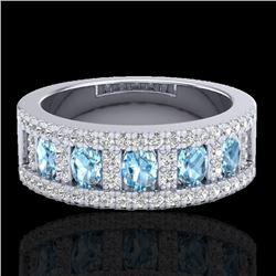 2 CTW Topaz & Micro Pave VS/SI Diamond Designer Inspired Band Ring 10K White Gold - REF-60K4W - 2081