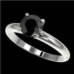 1.25 CTW Fancy Black VS Diamond Solitaire Engagement Ring 10K White Gold - REF-39T5M - 32906