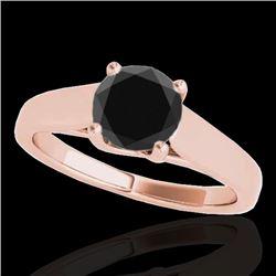 1 CTW Certified VS Black Diamond Solitaire Ring 10K Rose Gold - REF-42K4W - 35529