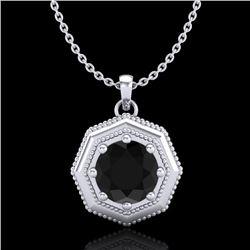 0.75 CTW Fancy Black Diamond Solitaire Art Deco Stud Necklace 18K White Gold - REF-44H5A - 37940