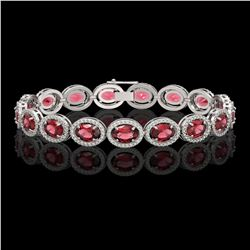 21.71 CTW Tourmaline & Diamond Halo Bracelet 10K White Gold - REF-338K9W - 40619