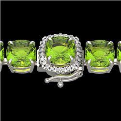 40 CTW Peridot & Micro VS/SI Diamond Halo Designer Bracelet 14K White Gold - REF-259M8H - 23317