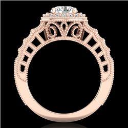1.53 CTW VS/SI Diamond Solitaire Art Deco Ring 18K Rose Gold - REF-454Y5K - 36960