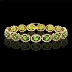 21.13 CTW Peridot & Diamond Halo Bracelet 10K Yellow Gold - REF-286F5N - 40630
