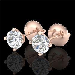 1.01 CTW VS/SI Diamond Solitaire Art Deco Stud Earrings 18K Rose Gold - REF-180W2F - 37299