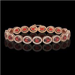 14.63 CTW Garnet & Diamond Halo Bracelet 10K Rose Gold - REF-228K2W - 40497