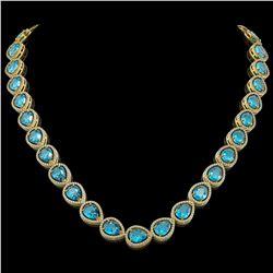 43.2 CTW Swiss Topaz & Diamond Halo Necklace 10K Yellow Gold - REF-609K8W - 41221