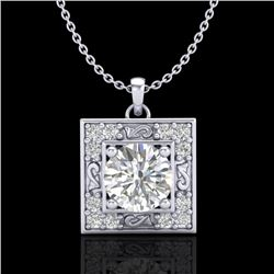 1.02 CTW VS/SI Diamond Solitaire Art Deco Necklace 18K White Gold - REF-200M2H - 37271