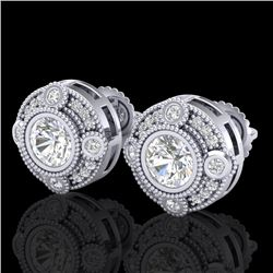 1.5 CTW VS/SI Diamond Solitaire Art Deco Stud Earrings 18K White Gold - REF-263K6W - 36980