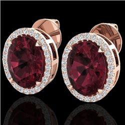 5.50 CTW Garnet & Micro VS/SI Diamond Halo Earrings 14K Rose Gold - REF-58F2N - 20250