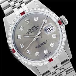 Rolex Men's Stainless Steel, QuickSet, Diam Dial & Diam/Ruby Bezel - REF-521X6Y