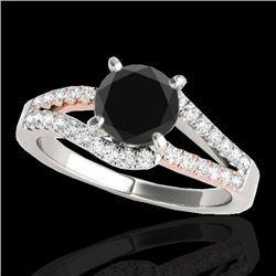 1.4 CTW Certified VS Black Diamond Solitaire Ring 10K White & Rose Gold - REF-70K2W - 35298