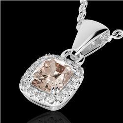 1.25 CTW Morganite & Micro Pave VS/SI Diamond Halo Necklace 10K White Gold - REF-36H4A - 22886