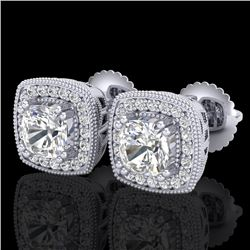1.25 CTW Cushion Cut VS/SI Diamond Art Deco Stud Earrings 18K White Gold - REF-218W2F - 37034